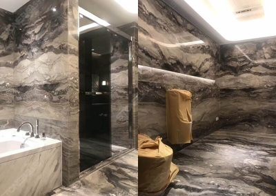 Arabescato Orobico marble bathroom