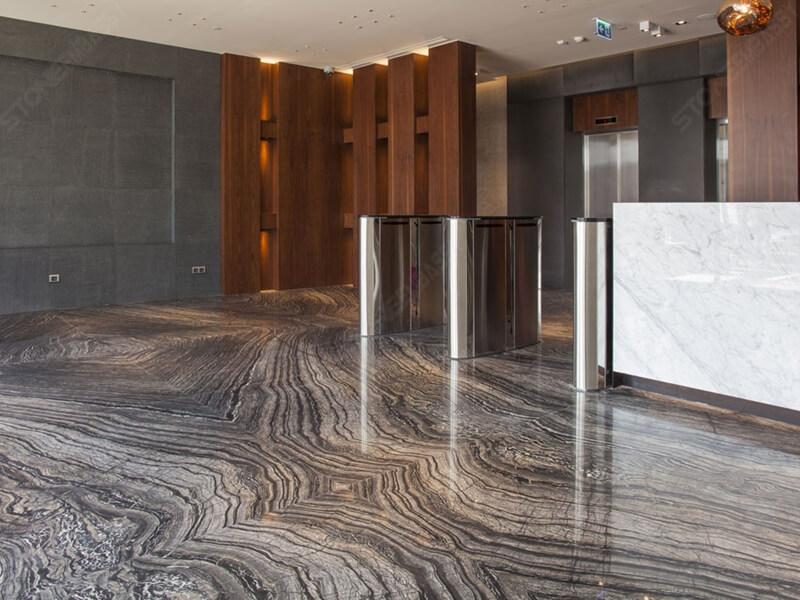 Black forest marble lobby tile