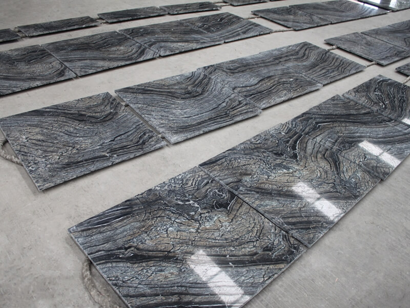 Black forest marble tile dry lay