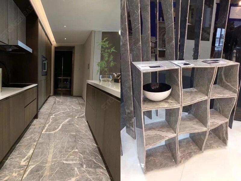 Fior Di Pesco Marble kitchen and shelf