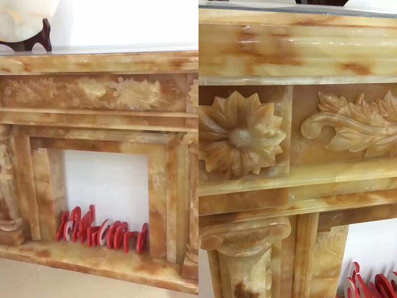 Giallo Siena marble fireplace