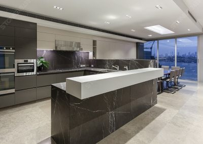 polished pietra grey marble kitchen decoration