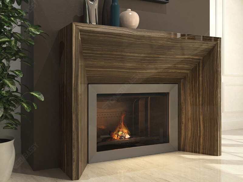 Eramosa marble fireplace