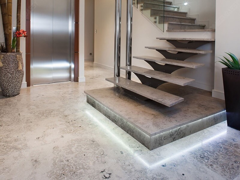 Jura Grey Limestone Flooring Tiles and Staircase