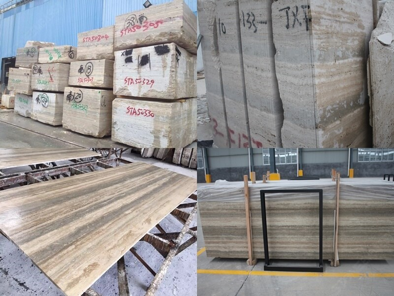 Silver Travertine Processing from stone blocks to slabs