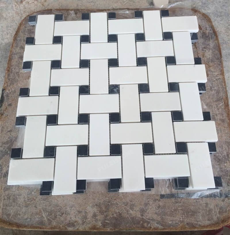 Basketweave Sivec White Mosaic Tiles