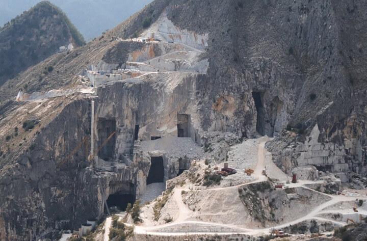 Carrara Stone Quarry with equipment