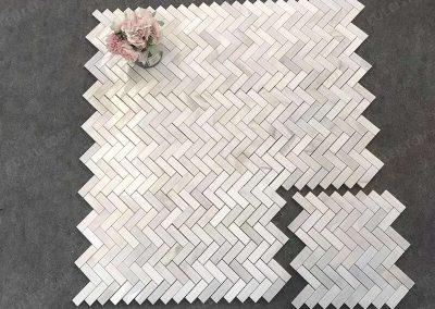 Polished Calacatta Gold Marble Herringbone Mosaic Tiles