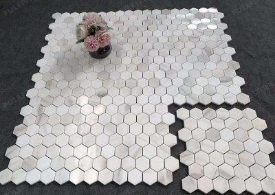Polished Calacatta Gold Marble Honeycomb Mosaic (2)