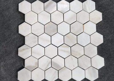 Polished Calacatta Gold Marble Honeycomb Mosaic