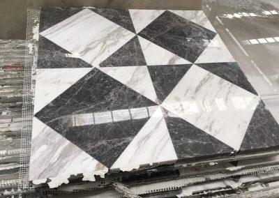 Waterjet Tile of Grey Emperador and Volakas