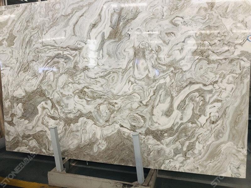 Avalanche White Quartzite Slab