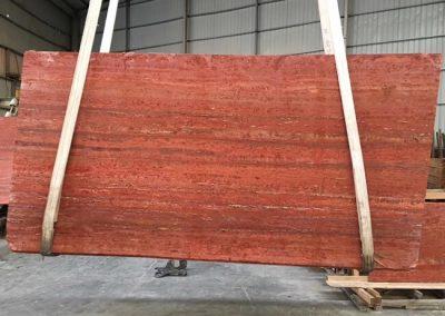 Honed finish Red Travertine Slabs