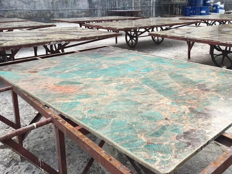 Marble Glue application to Amazonite Quartzite