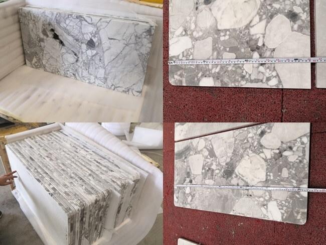 Packing of Cube Grey Marble Vanity Tops