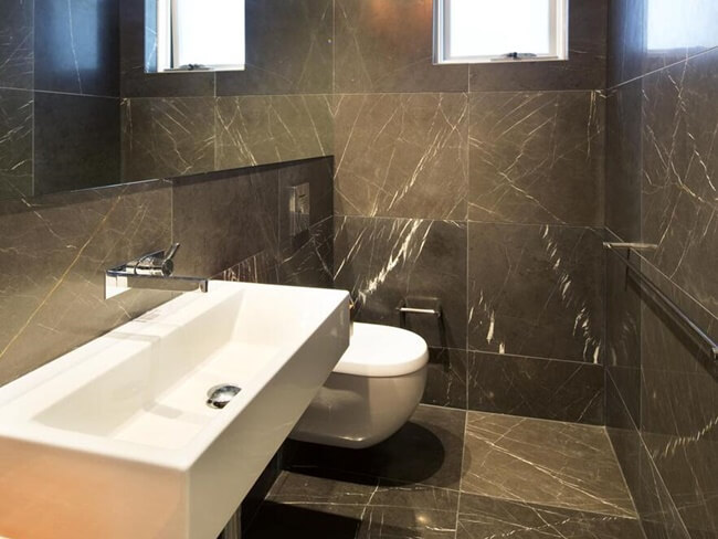 Pietra Grey Marble tiles in Bathroom