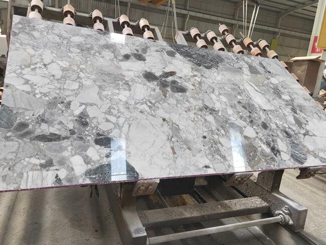 Polished Finish of Cube Grey Marble Slab