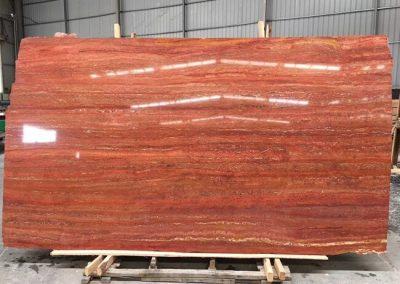 Polished Red Travertine Slabs