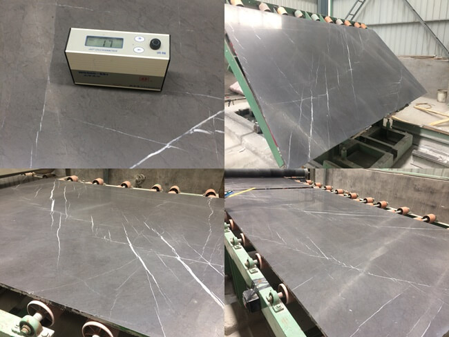 Processing of honed Pietra Grey Marble Slabs