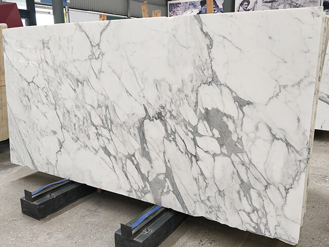 white statuario marble slab