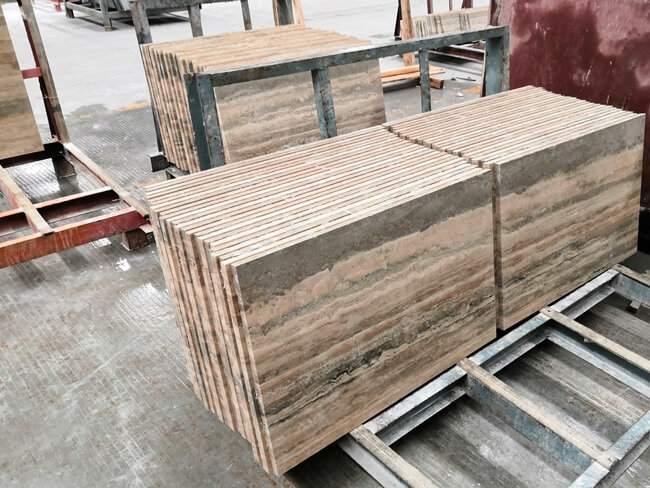 Cutting to Size of Silver Travertine Tiles