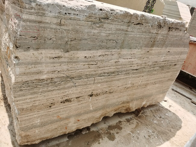 Silver Travertine Blocks are Ready for Cutting Slabs