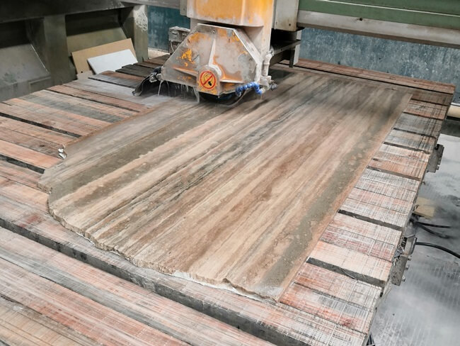 Silver Travertine Tiles Cut from Slabs