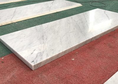 carrara white marble top mitered edges