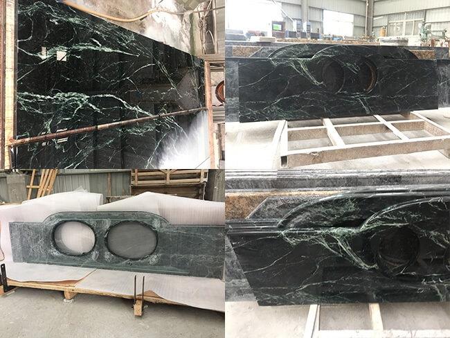 emerald green marble kitchen countertops