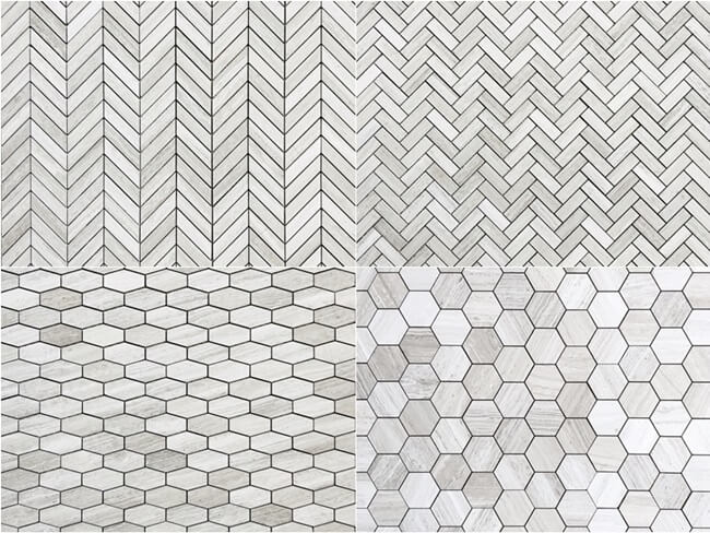 Mosaic of White Wooden Tile