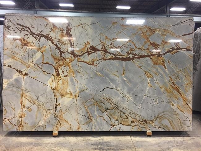 Blue roma gold veins granite slab